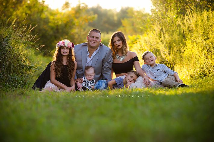 Romance Boho Tribe Whimsical  family of 5 pose golden hour
