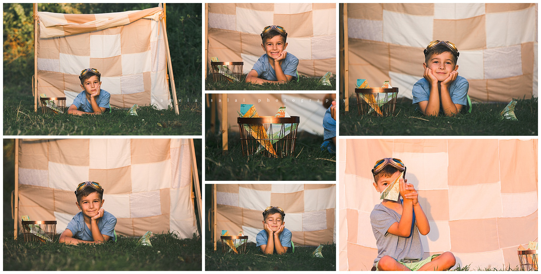 Paper airplane adventures of a 6 year old boy. Film look , golden hour, styled
