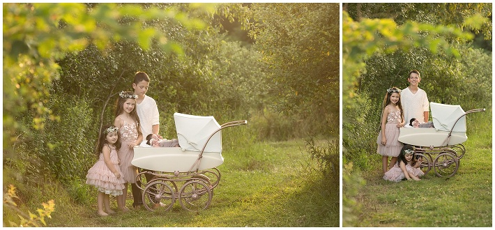 <Rose gold vintage carriage , golden hour, children posing, whimsical , pamela salai photography >