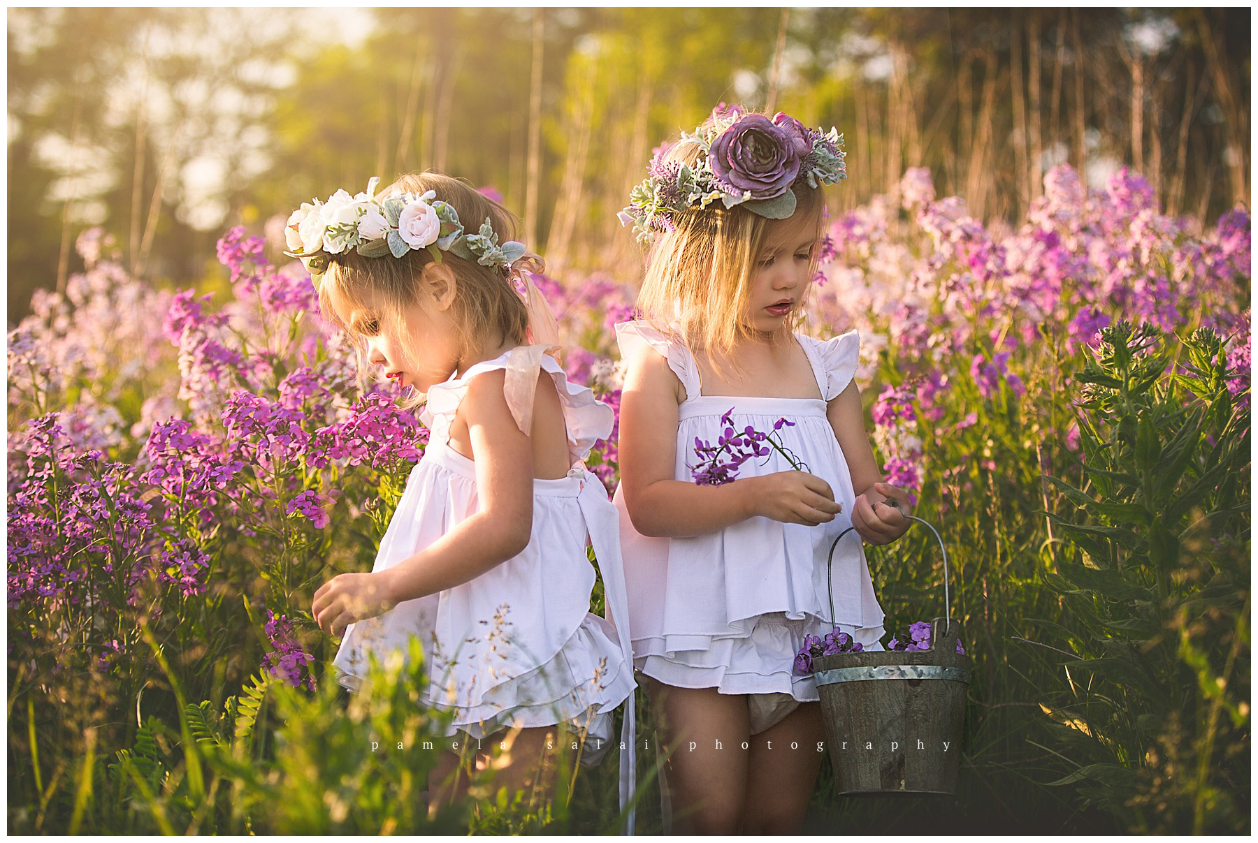 pittsburgh whimsical child session purple flowers