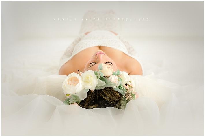 maternity, bump , whimsical , pure white studio , organic maternity