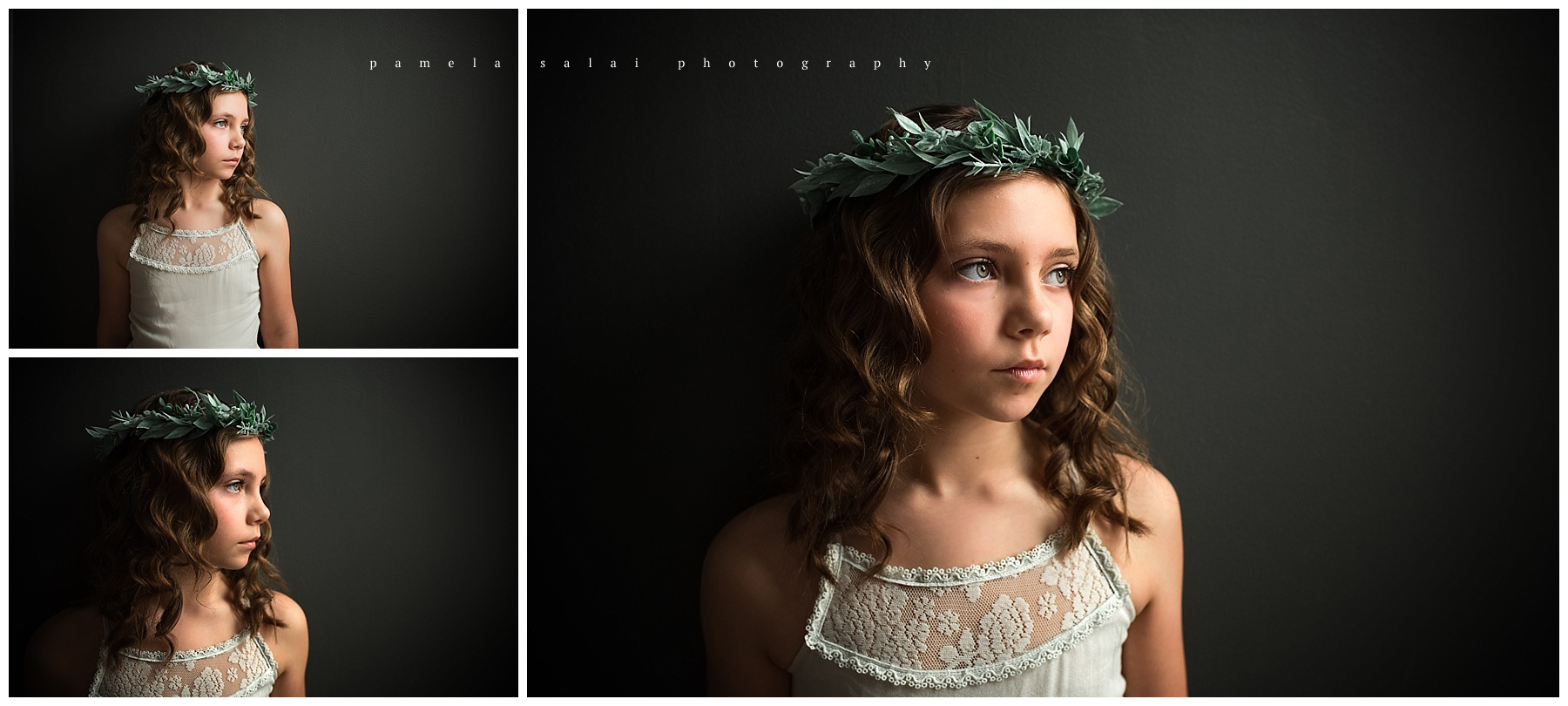 Dramatic light window light natural light child posing floral crown simple pose studio