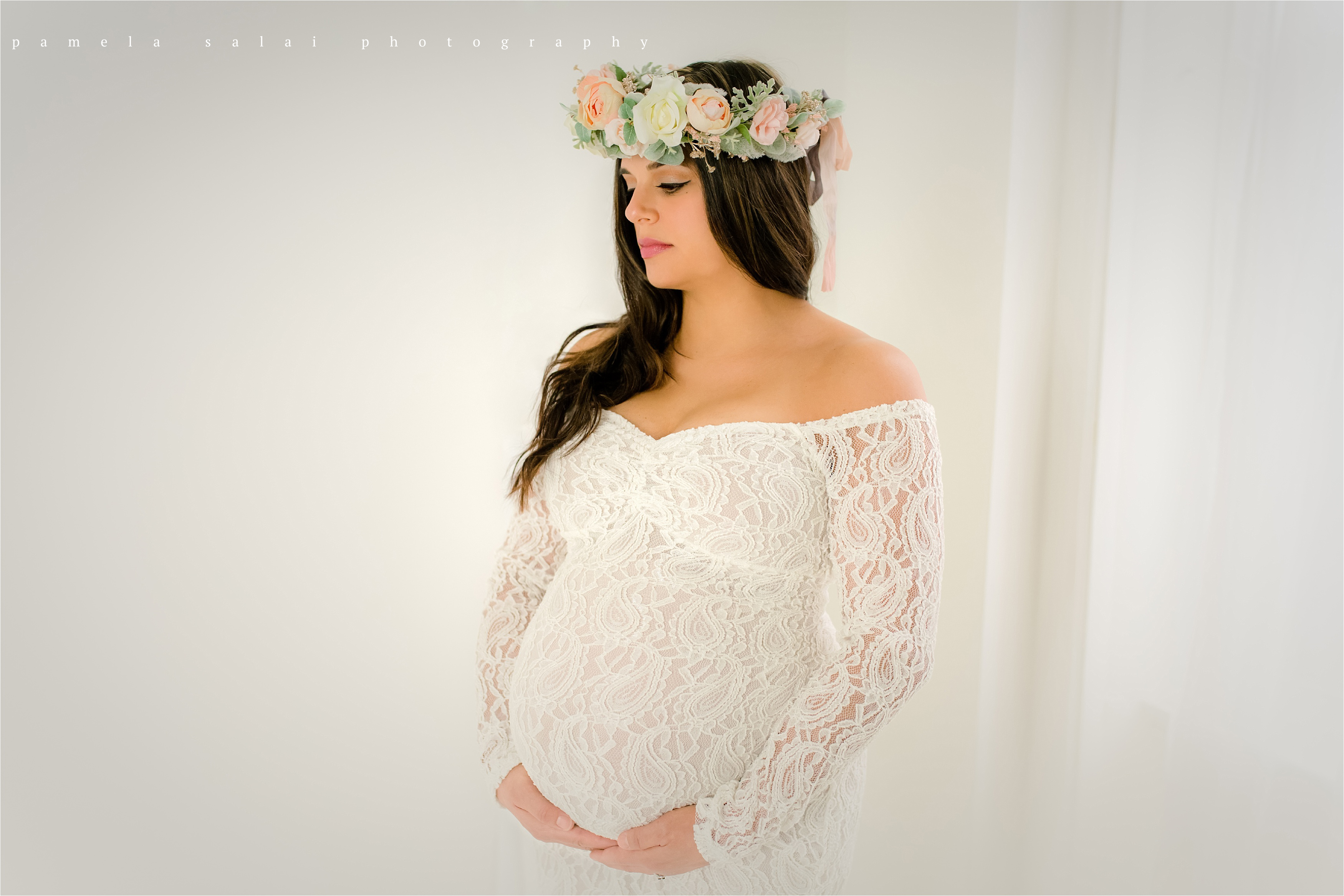 Pure white maternity session simple and sweet floral crown lace dress beautiful whimsy