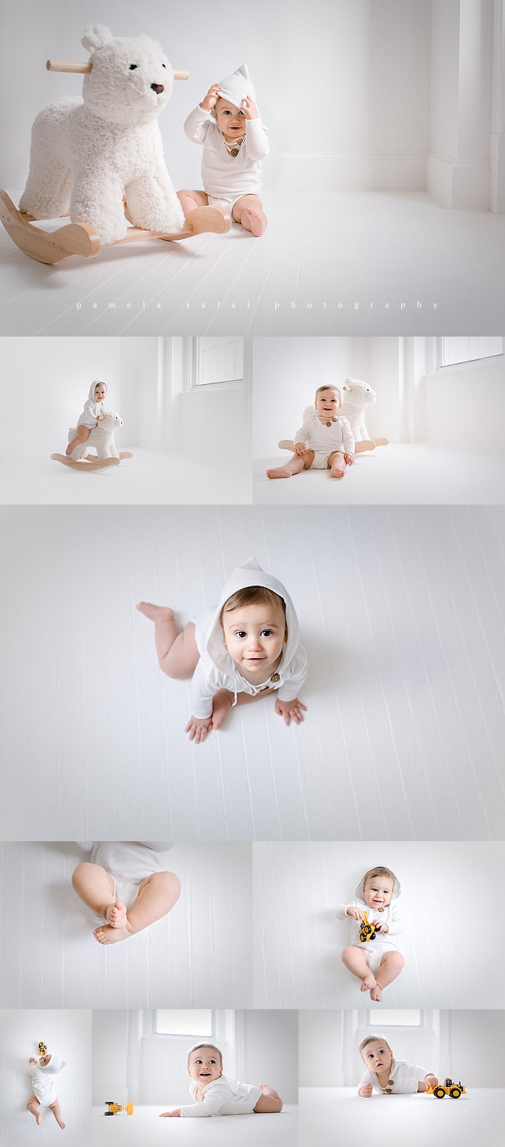 Simple and sweet pure white studio posing rocking bear