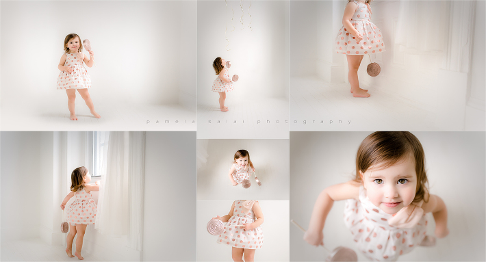 Simple and sweet pure white studio rose gold polka dot dress balloons turning 2