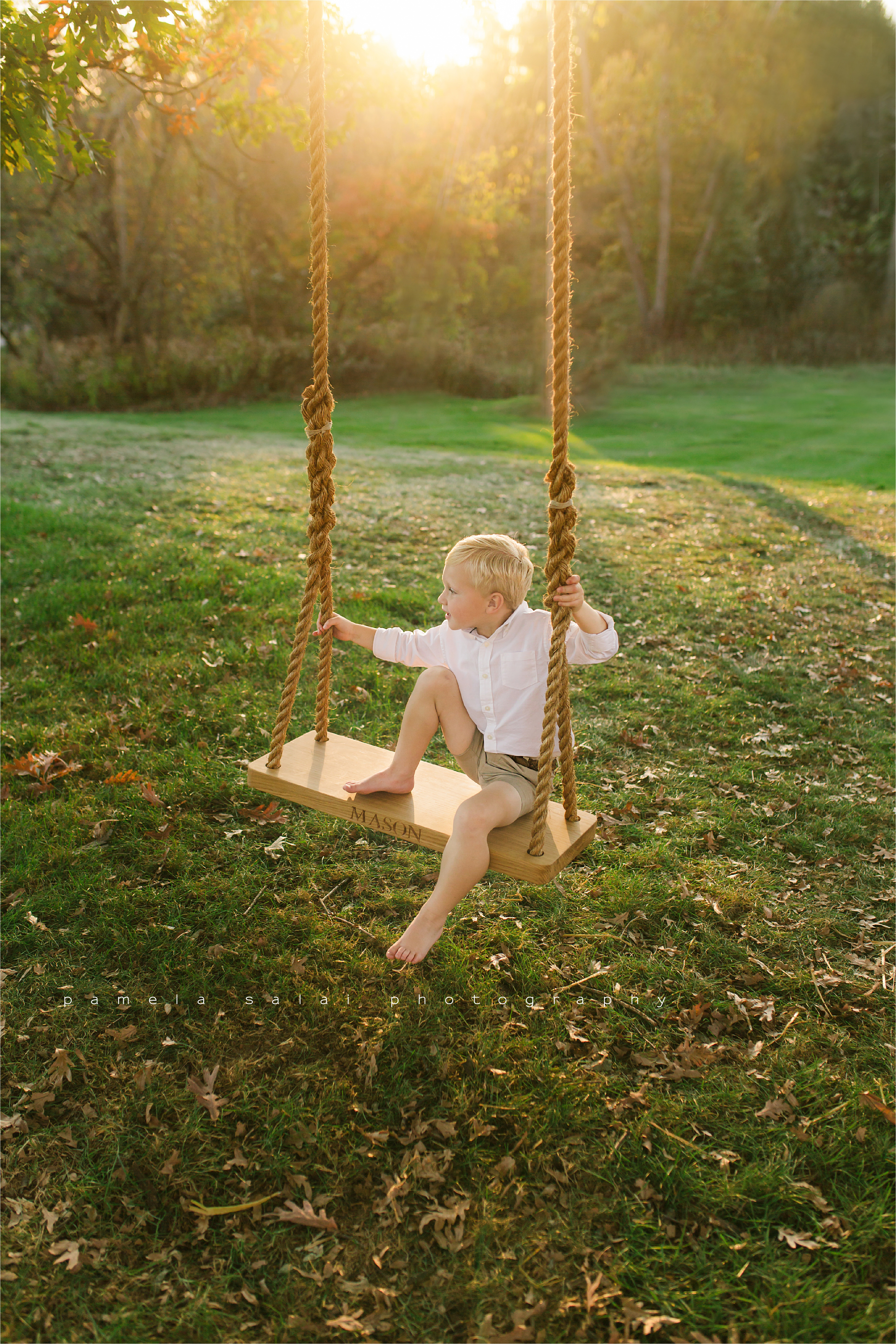 Backlit, golden hour, pittsburgh, film look, north park , boy on swing, family