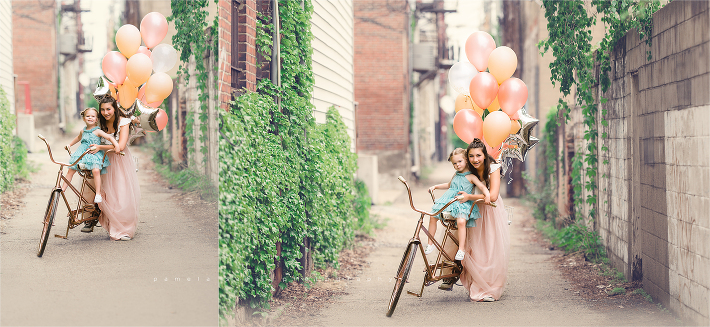 3 and 13 toddler and teen girls Pittsburgh alleyway  photo posing idea
