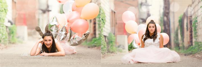 13 teenager posing alleyway in Pittsburgh balloons