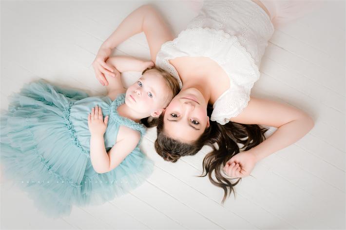 13 & 3 toddler and teen girls Pittsburgh posing idea in white studio