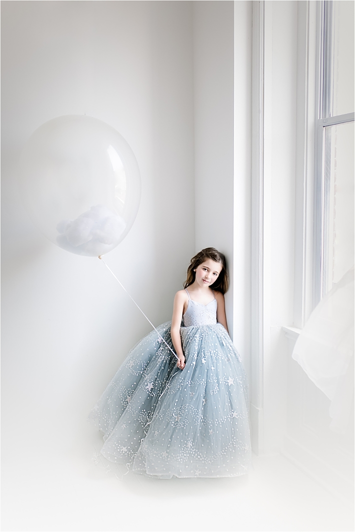 Clouds in a ballon magical tween session whimsical pittsburgh child photography