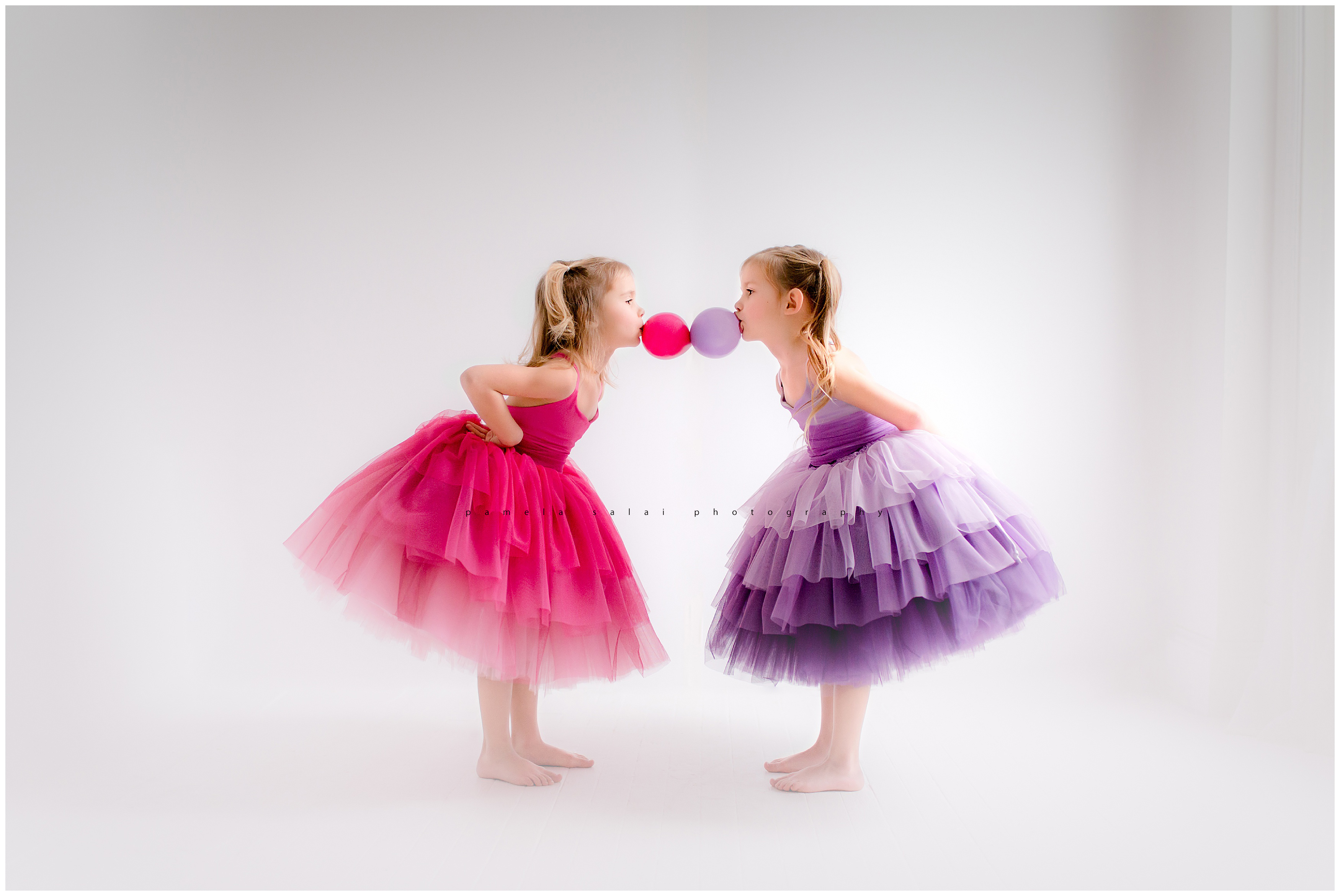 twins, double bubble, commercial photography , editorial photography, cupcake dress, pink, purple, little dreamer tutus , tulle on tulle, ombre tulle