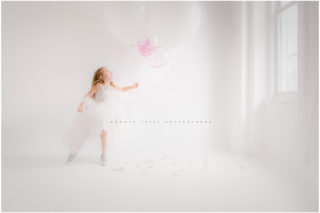 head in the clouds , all about me birthday session , balloons, white studio, natural light, commercial photography