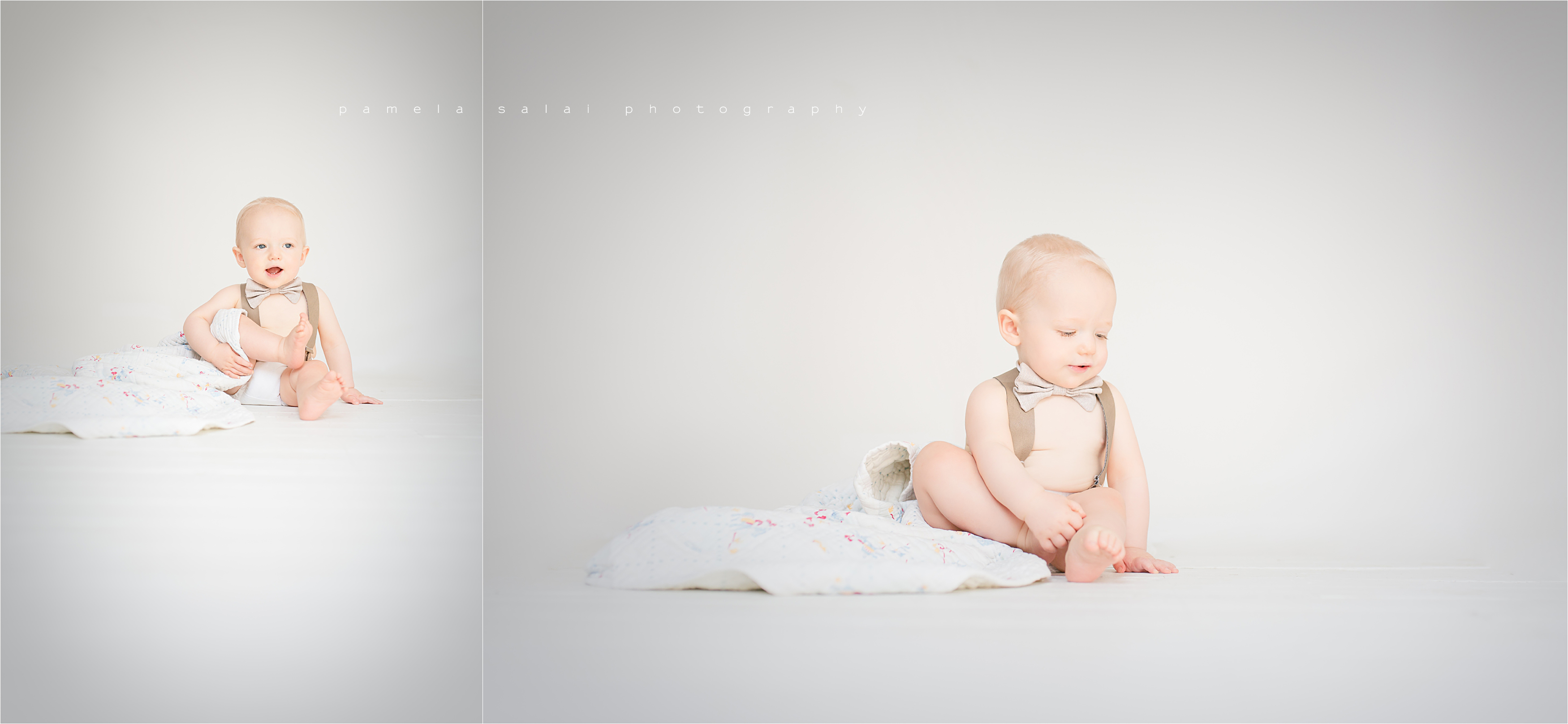 simple and pure one year old session on pure white studio Pamela Salai photography