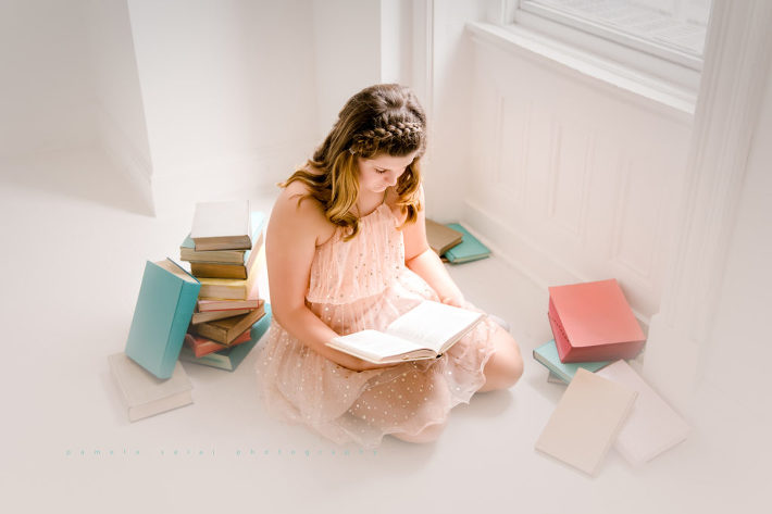 preteen , tween head in the books, Harry Potter, light and airy pastel , star dress, Pamela Salai photography, imagination session