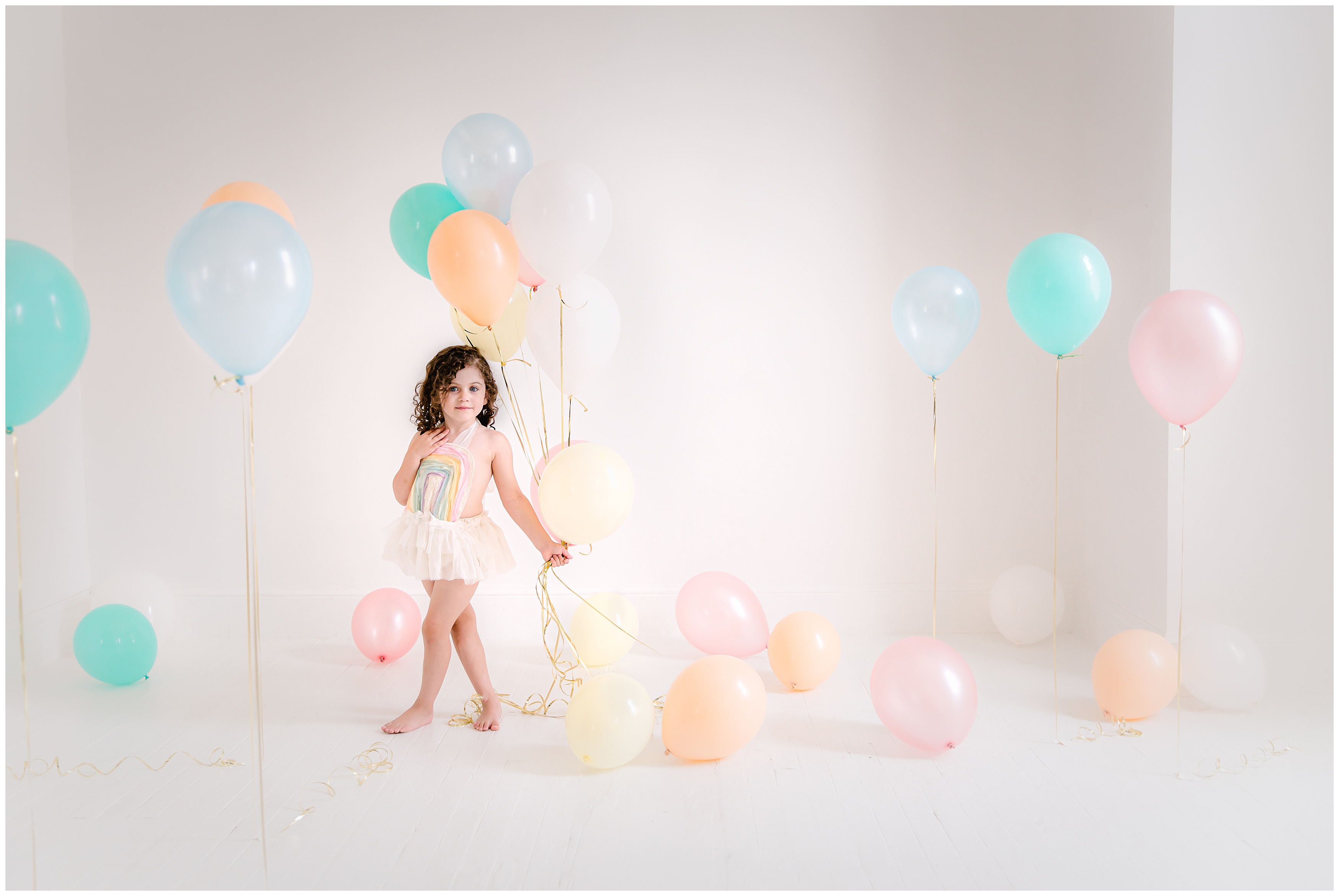 pittsburgh child photography Pastel Rainbow pure white studio