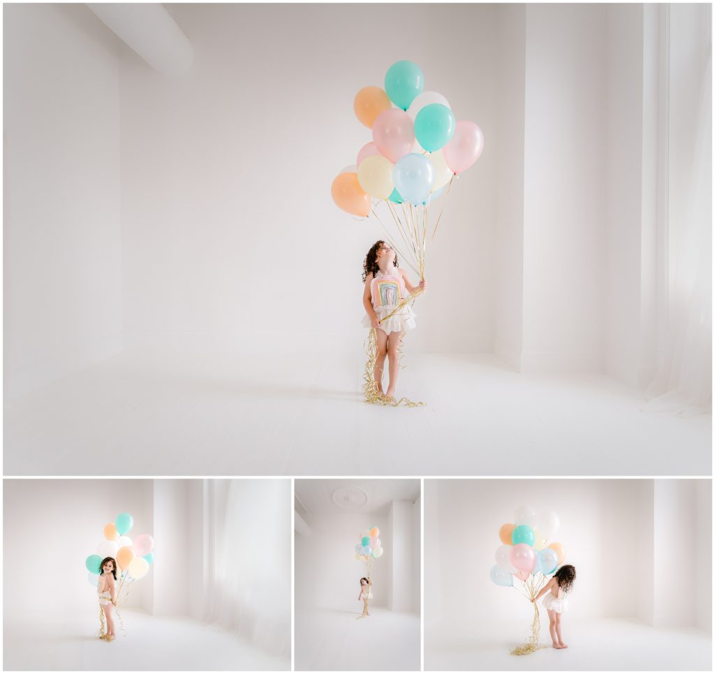 Pastel rainbows whimsical pure white studio Pittsburgh child photographer